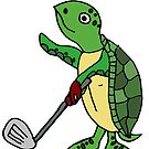 Funny Sea Turtle Playing Golf Cartoon by naturesfancy