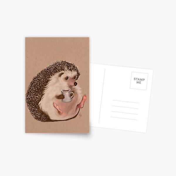 Caffeinating Hedgehog Postcard