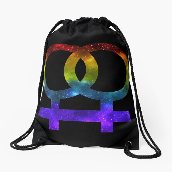 Lesbian Galaxy Symbol Drawstring Bag