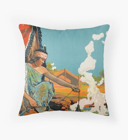 Vintage New Zealand Indian Native Travel Advertisement Art Posters Throw Pillow