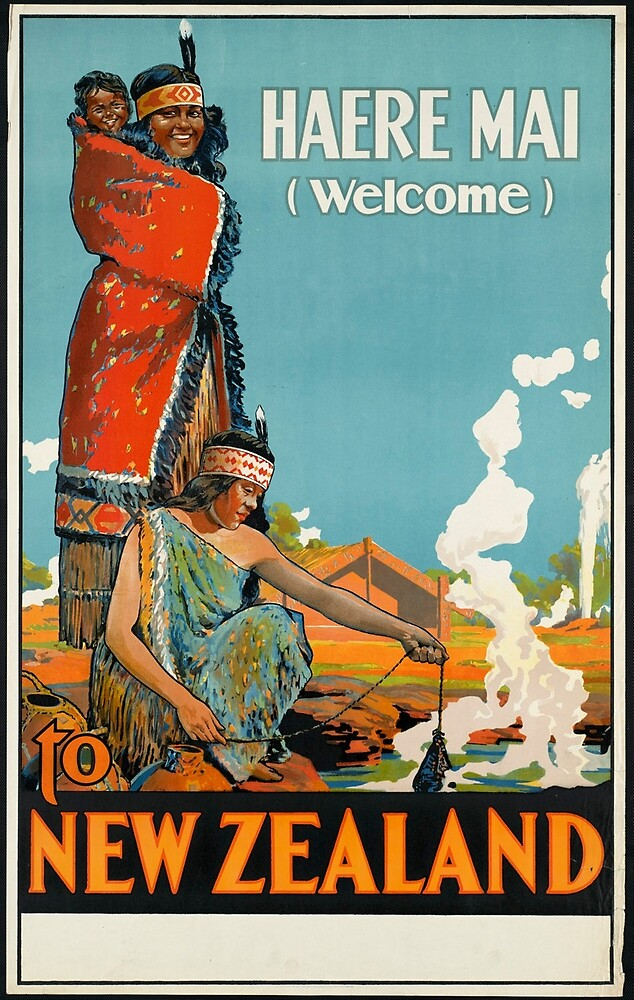 Vintage New Zealand Indian Native Travel Advertisement Art Posters by jnniepce