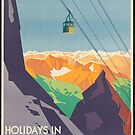 Vintage Austria Mountains Ski Lift Travel Advertisement Art Posters by jnniepce