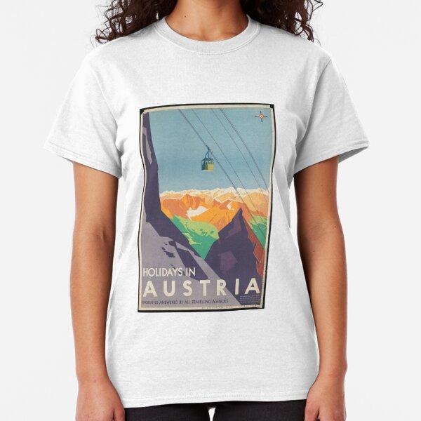 Vintage Austria Mountains Ski Lift Travel Advertisement Art Posters Classic T-Shirt