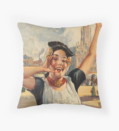 Vintage Holland Travel Advertisement Art Posters Throw Pillow