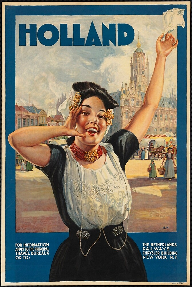 Vintage Holland Travel Advertisement Art Posters by jnniepce