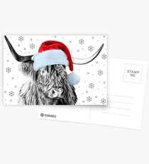 Highland Cow in a Santa Hat Postcards