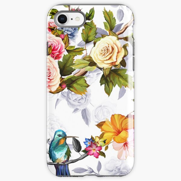 Humming bird, roses, peony with leaves on white iPhone Tough Case