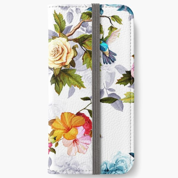 Humming bird, roses, peony with leaves on white iPhone Wallet