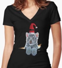 Cute Christmas White Tiger Cub by Schim Schimmel Women's Fitted V-Neck T-Shirt