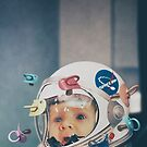 Space Baby_ a cute baby trapped in a space helmet by mauro mondin
