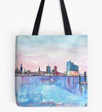 Hamburg Harbour Skyline And Elbe Philharmonic Hall Tote Bag