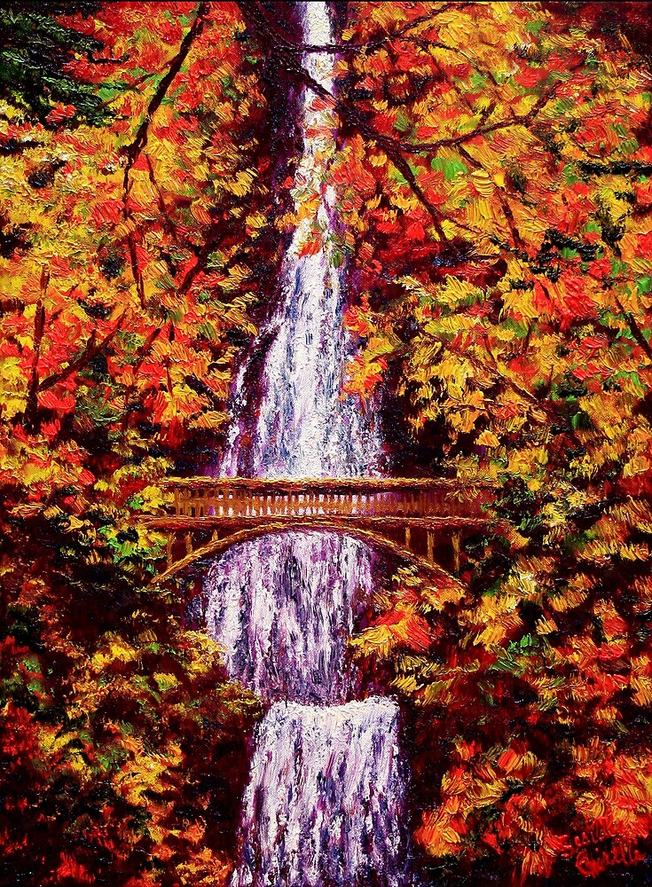 """""""Autumn at Multnomah Falls"""" by sesillie 
