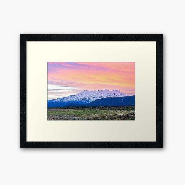Mount Ruapehu at sunset Framed Art Print