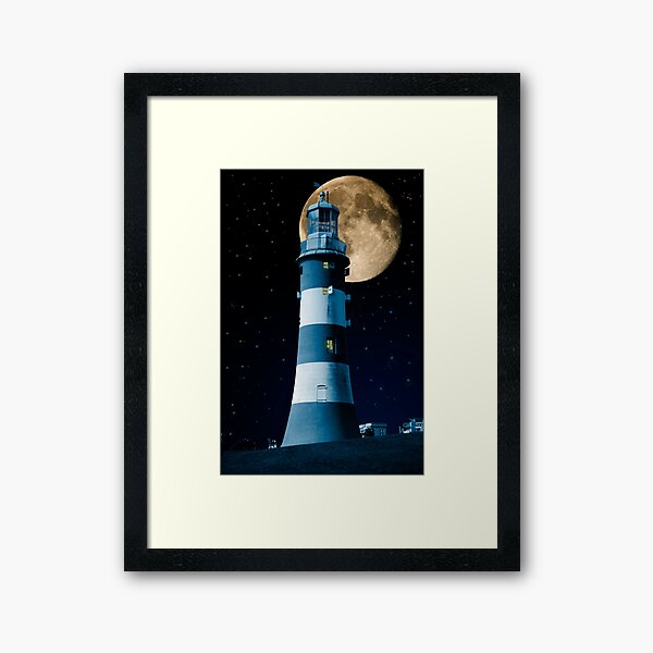 Moonlight Becomes You: Plymouth Hoe Lighthouse Framed Art Print