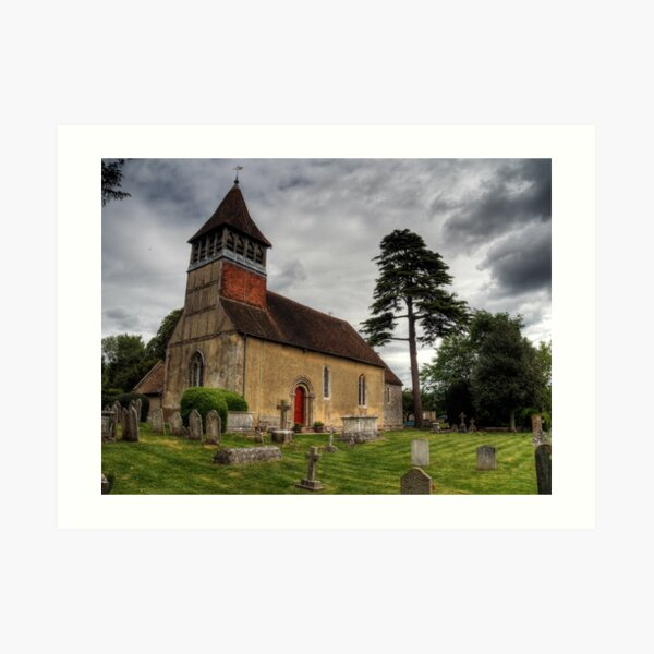 the Church at Martyr Worthy, Hampshire Art Print