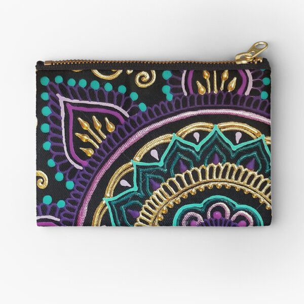 Vivid Purple And Gold Mandala Zipper Pouch