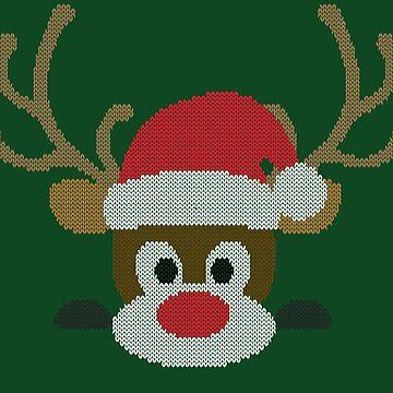 Santa Claus Reindeer Rudolph T-shirt knitting pattern Gift by peter2art