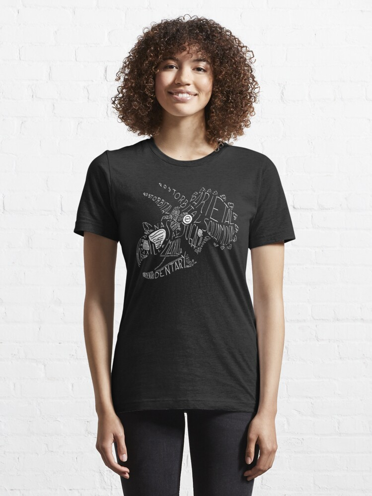 Alternate view of Monocolor Calligram Triceratops Skull Essential T-Shirt