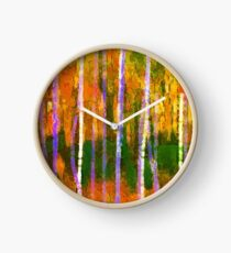 Colorful Forest Abstract | Triptych Part 1 Clock