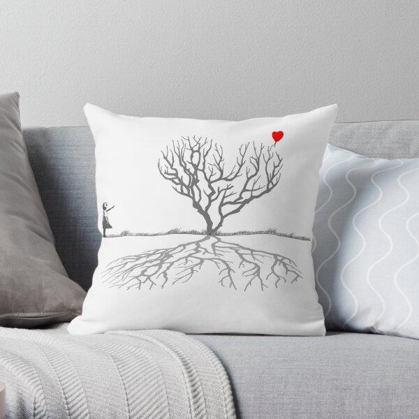 Banksy Heart Tree Throw Pillow
