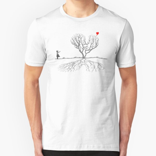 Banksy Heart Tree Slim Fit T-Shirt