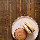 Macarons on Pink Plate by carlacardello