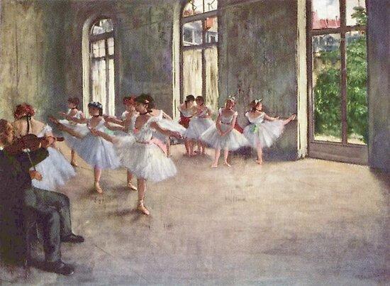 Edgar Degas Französischer Impressionismus-Ölgemälde-Ballerinen, die Tanzen probieren von jnniepce