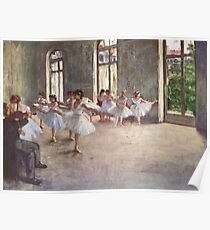 Edgar Degas French Impressionism Oil Painting Ballerinas Rehearsing Dancing Poster