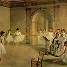 Edgar Degas French Impressionism Oil Painting Ballerinas Rehearsing Dancing at Dance School by jnniepce