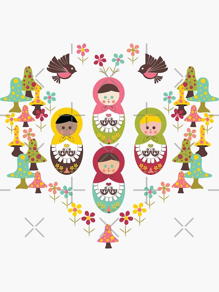 Unity Around The World, Scandinavian Art, Nesting Dolls, Mushrooms, Birds, Polka Dot Mushrooms, Flowers by CreativeContour