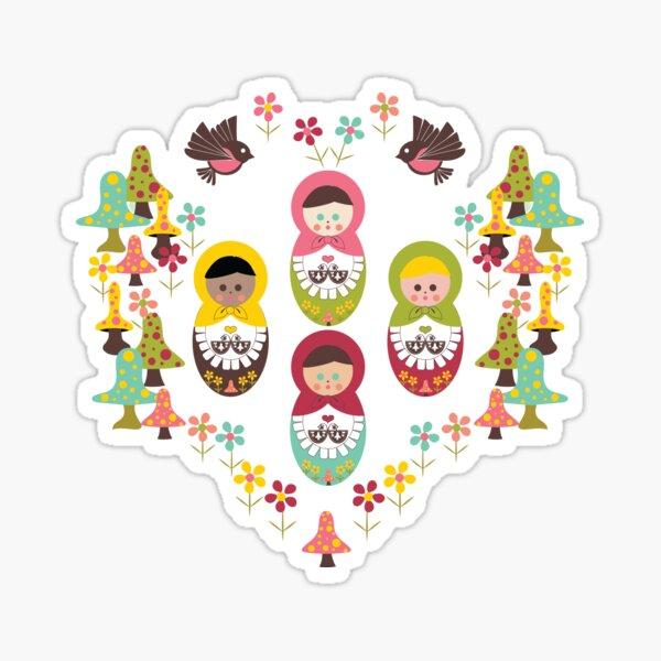 Unity Around The World, Scandinavian Art, Nesting Dolls, Mushrooms, Birds, Polka Dot Mushrooms, Flowers Sticker