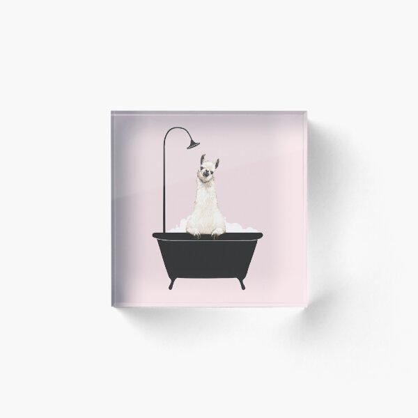 Llama in Bathtub Acrylic Block