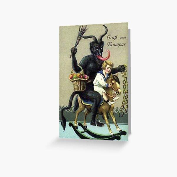 Krampus on Rocking Horse Victorian era Christmas Greeting Card