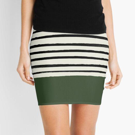 Forest Green x Stripes Mini Skirt