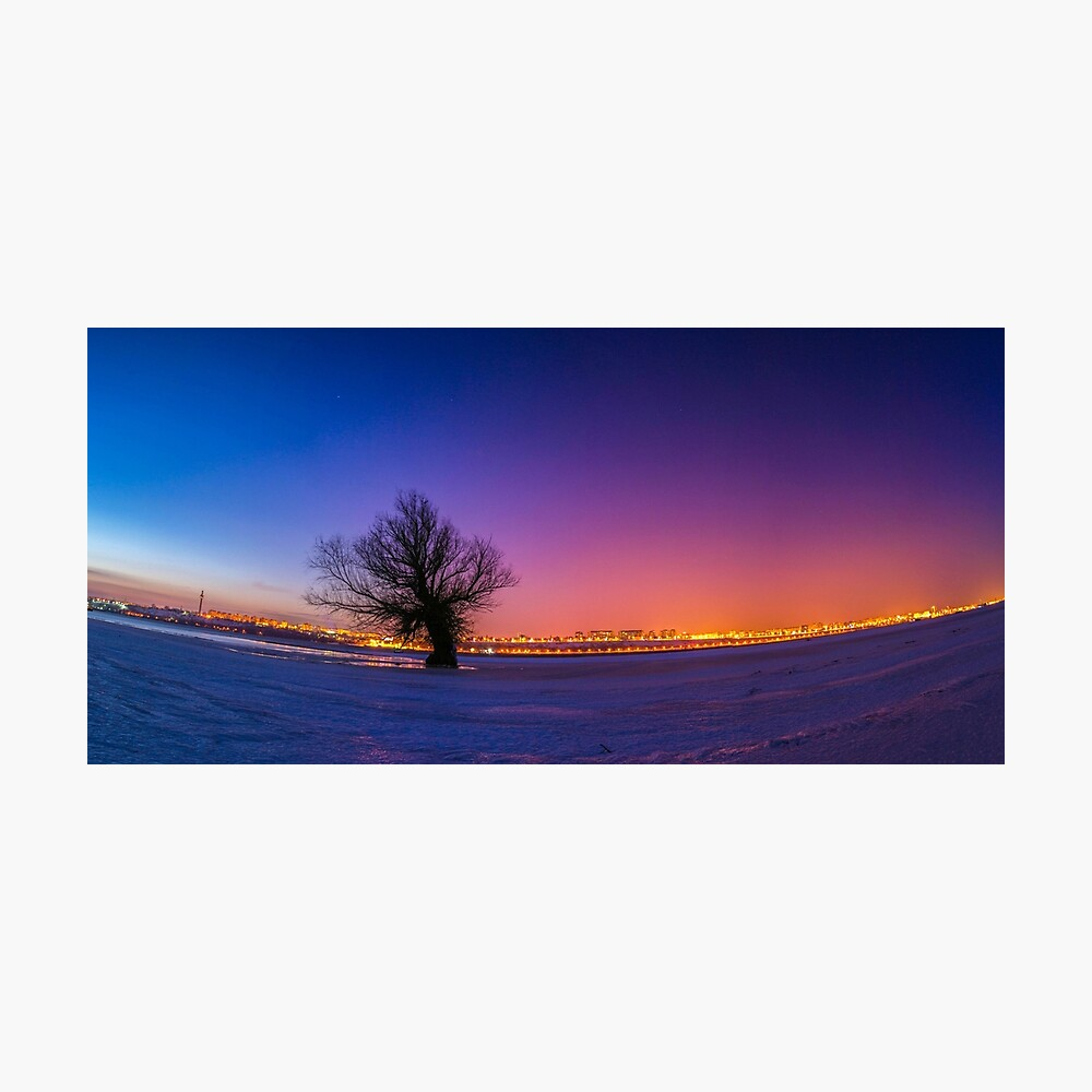 Solitary Or Single Tree Panorama Night Landscape With A Colorful Sky And A City View After Sunset Panoramic Winter Nature Landscape With Snow On The Ground Poster By Alex2789 Redbubble