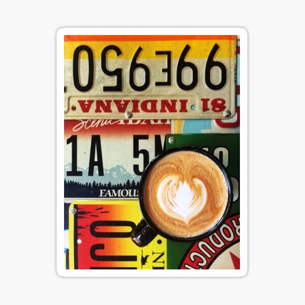 Latte Art with License Plate background Sticker