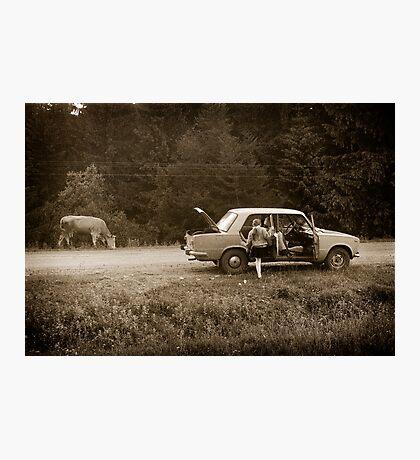 Oksana & the Cow, Ukraine Photographic Print