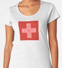 Blushing Swiss Flag Women's Premium T-Shirt