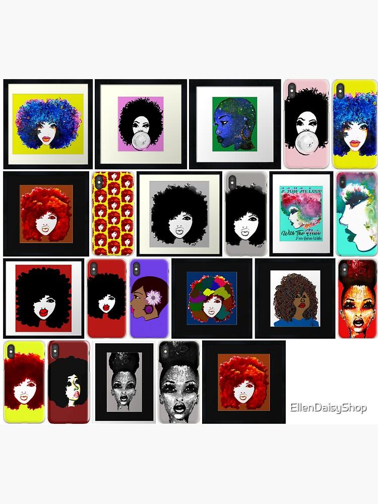 Natural Hair Art Stickers Art Collections by EllenDaisyShop