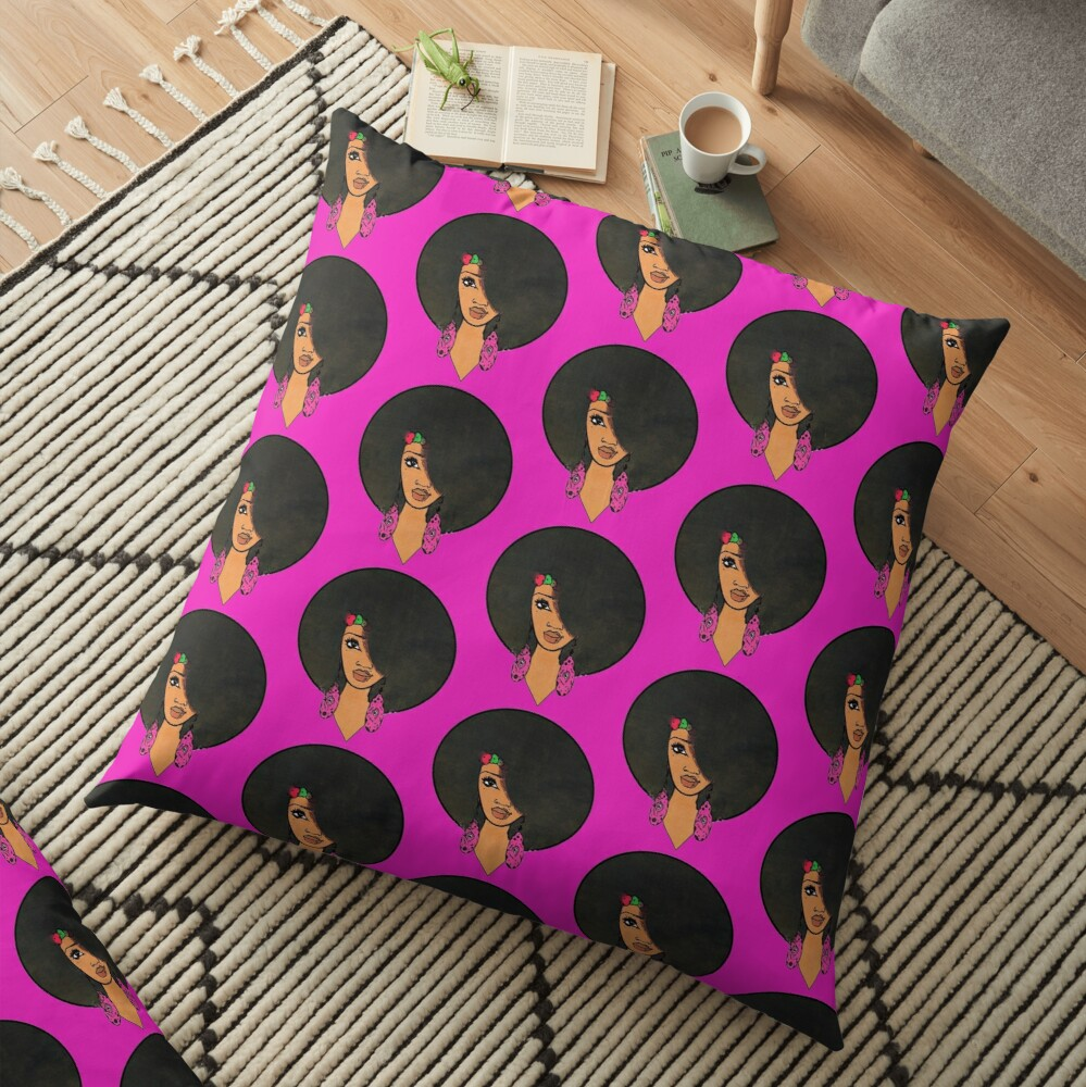 Indian Women Beautiful Afro Sista  Floor Pillow