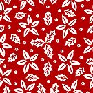 «Flores blancas sobre rojo navideño» de alquimista