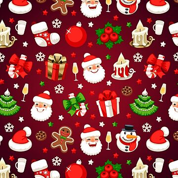 Christmas Seamless Pattern on Red by Voysla