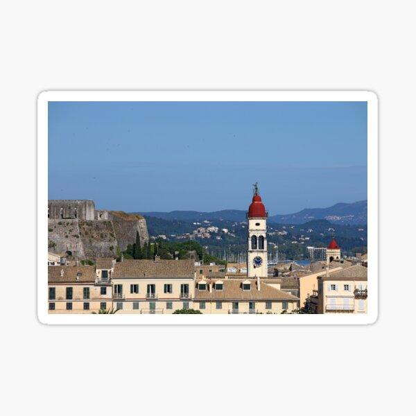 bell tower of Saint Spiridon church Corfu town Greece Sticker