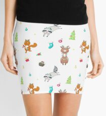 Cute deer, raccoon and squirrel wearing antler headbands and christmas tree lights Mini Skirt