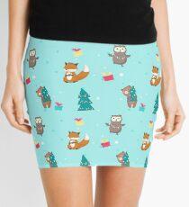 Cute fox, bear, owl with xmas tree lights, holly berries wreath, gift boxes. Mini Skirt