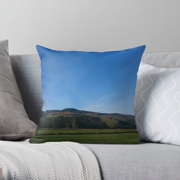 Field and mountain Throw Pillow