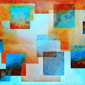 Abstract Squares, Terracotta and Sky by Rasendyll