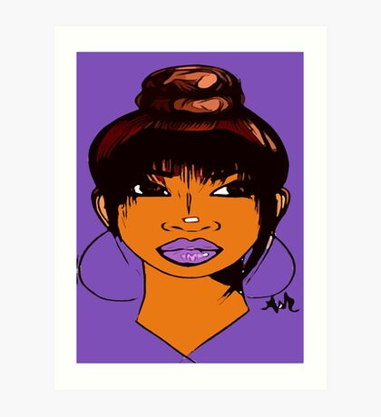 Pretty Girl Cute HairStyle Earrings With Purple Lipstick Art Print
