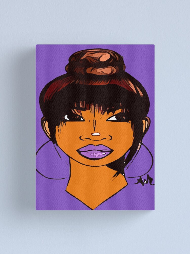 Alternate view of Pretty Girl Cute HairStyle Earrings With Purple Lipstick Canvas Print