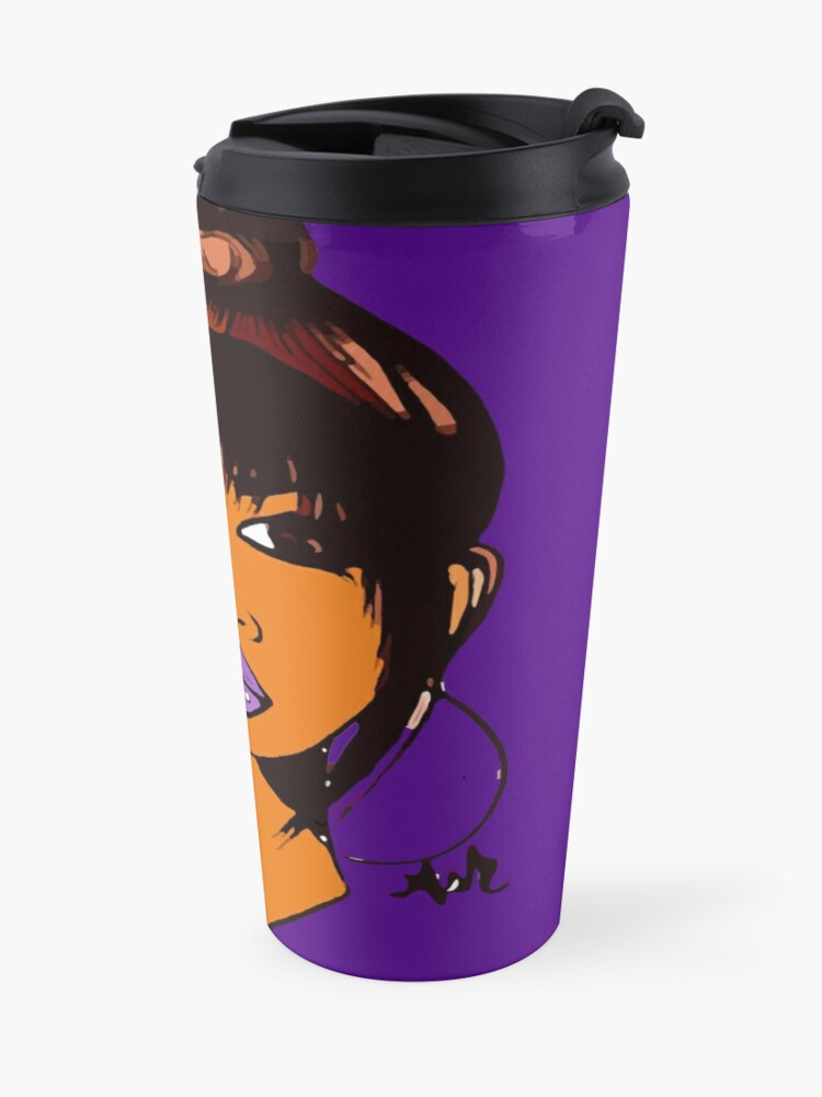 Alternate view of Pretty Girl Cute HairStyle Earrings With Purple Lipstick Travel Mug